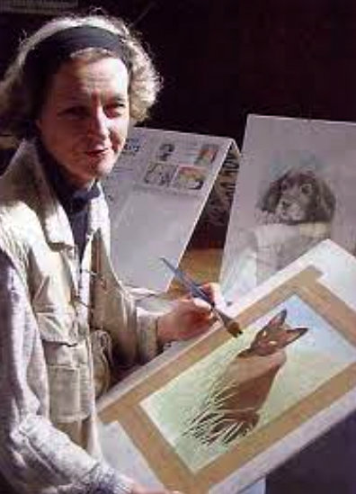 Jane Goodfellow painting a cat portrait