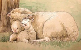 "Mixed media artwork of a ""Ewe and Lamb"""