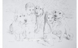 "Biro drawing of ""Sue's Five"" - dogs and their playmates"