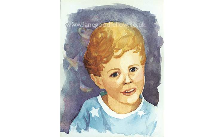 "Watercolour of ""Anna's Grandson Tigue"""