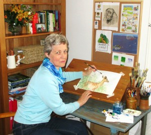 Jane Goodfellow working on a pet portrait