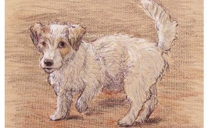 "Mixed media portrait of ""Lucy"" a mischievous Jack Russell"