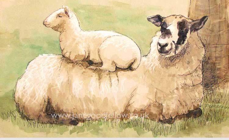"""Mixed media artwork """"Sitting Pretty"""" of a lamb sat on their mother's back"""